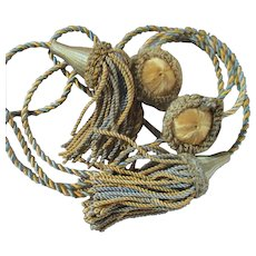 Set Antique French Passementerie Silk Tassel Tie Backs With Silk Clamps