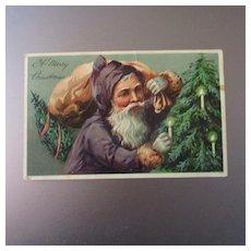 Wonderful Old World Santa With Purple Coat Printed In Germany