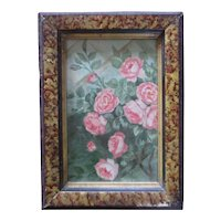 Small Walnut Gold Lacquer Sponged  Frame With Roses