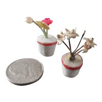 Tiny Old Set Bisque Flower Pots For Dollhouse