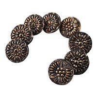 Vintage Le Chic Victorian Style Iridescent Gold Flash Buttons