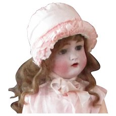 Silk Ruffled Ruched Bonnet Made in France for Lord & Taylor