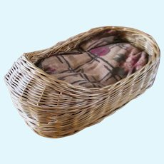 Early 20C Wicker Moses Doll Basket