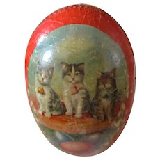 German Paper Kitty Easter Candy Container With Kittens Card