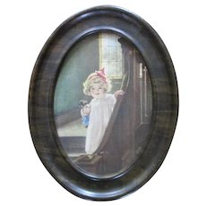 """Betsy Pease Guttman """"Good Morning"""" In Original Tin Frame For Dolly Corner"""