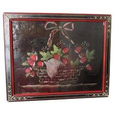 Antique Stenciled Strawberries On Paper Inlaid Eastlake Frame