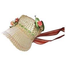 Gorgeous Antique Straw Sun Bonnet Original Ribbons