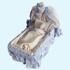 Early 1900's Factory Doll Bed Draped Headboard