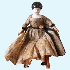 Antique China Doll Beautiful Original Paisley Dress