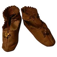 Wonderful Early French Fashion Doll's Shoes, marked.