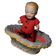 Cute All Bisque Boy, Side Glancing, Crocheted Outfit w/Basket