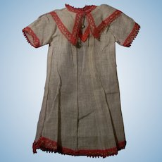 Charming French Factory Dress for Cabinet Size Doll, Original