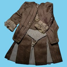 """French Bebe Dress for 11-1/2"""" to 12"""" Size, Two-Piece"""