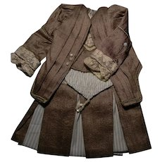 """Amazing French Bebe Dress for 11-1/2"""" to 12"""" Size, Two Pieces"""