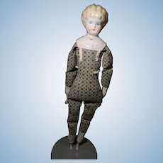 """Blond """"Helen"""" China head doll with Printed Cloth Body"""