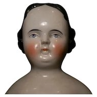 """Early China Doll, 18"""" w/Unusual Expression, (not perfect.)"""