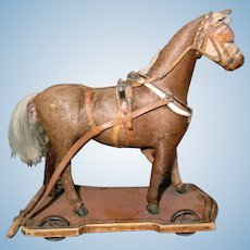 Rare Pull Toy Horse, Hair Covered, Full Harness, Early Inset Wheels