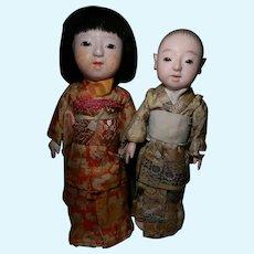 Japanese Gofun Dolls w/Working Squeakers, Original Clothes, TLC
