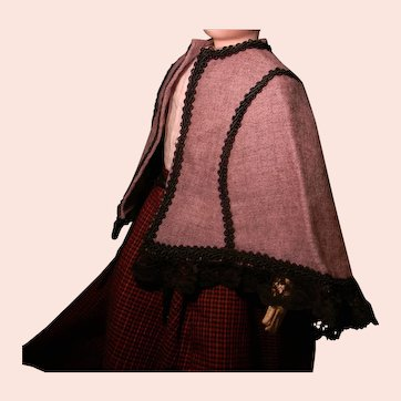 French Fashion Doll's Woolen Cape, Hand Sewn