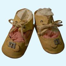 Original Pair of Oilcloth Shoes w/Buckle Trim