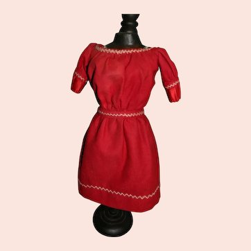 Great Turkey Red Wool Dress w/Feather Stitching