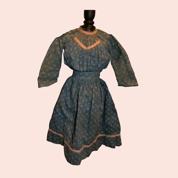 Great Early Blue Original Dress, China, Parian, Paper Mache