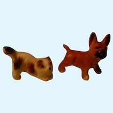 Tiny Doll House Dog & Cat Pair, Vintage porcelain