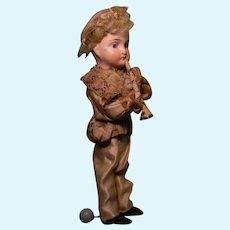 Little Mechanical Bugle Boy w/ Bisque Head, Rare