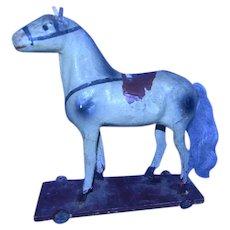 Early Paper Mache & Wood Horse, Pegged Feet, Dappled Grey