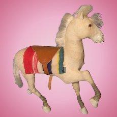 Folk Art Horse, Amber Glass Eyes, for Doll or Cart