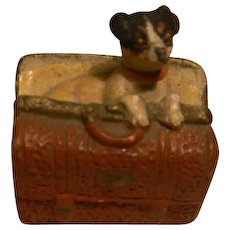 Dollhouse Fox Terrier Puppy in a Valise, Germany