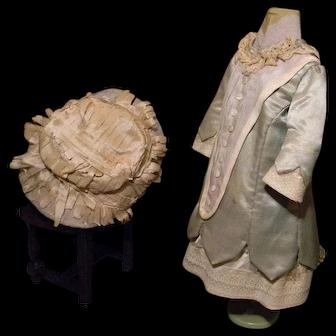 Jumeau Original Aqua Silk Costume, Two Piece