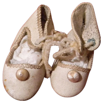 Lovely French Leather Shoes for Cabinet or Fashion Doll Size