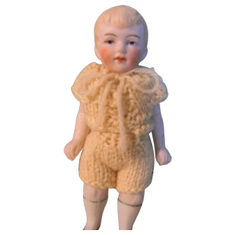 Cute All Bisque Boy, Molded Hair, Crocheted Outfit