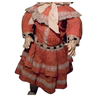 Original French Doll Dress, Coral w/French Lace