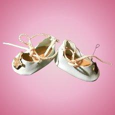 Pale  Blue Oilcloth Shoes w/Brass Bunny Decoration