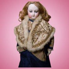 Fashion Doll Cape, Fancy Silk & Gold w/Fur Trim