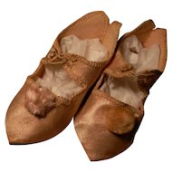 "Great French Style Pointed-Toe Shoes in Rich Pink Silk, incised ""8"""