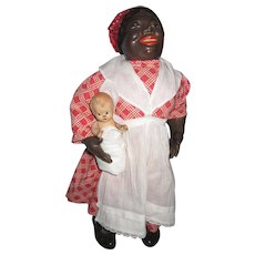 Vintage Composition Tony Sarg Black Mammy and Baby Doll