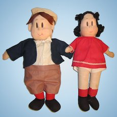 "Georgene 14"" Lulu and Tubby Tom Dolls"
