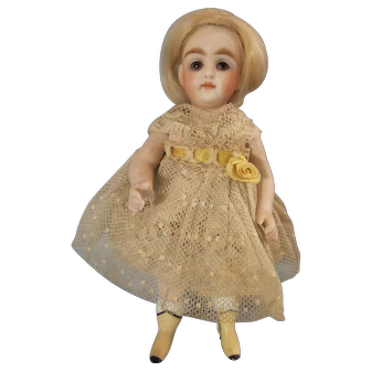 "All Bisque 6 1/2"" Kestner Doll Yellow Boots"