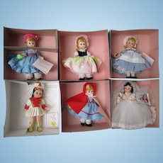 "Six 8"" Madame Alexander Dolls MIB"