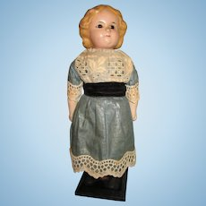 "Antique 8"" Wax Over Papier Mache Doll"