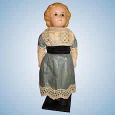 "Antique 8"" Wax Over Papier Mache Doll"