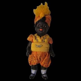 "German 5"" All Bisque Black Doll"