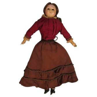 "Antique English 15 1/2"" Wax over Papier Mache Doll"