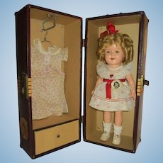 """Ideal 13"""" Shirley Temple Doll with Trunk"""