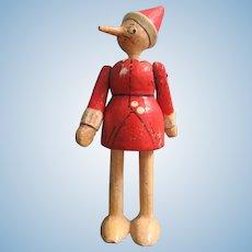 """Tiny Wooden 3"""" Italian Sevi Pinochio Doll"""
