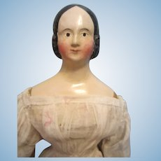 """Antique 15 1/2"""" Milliners Model with Queen Victoria Hair Style"""