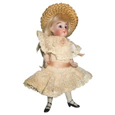 "Antique German All Bisque 5"" Doll"